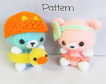 Summer Fuzzy Bears, Amigurumi Bear Set