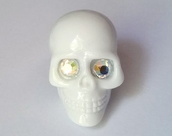 White Rhinestone Skull Adjustable Ring - Kawaii Ring Kawaii Jewelry Pop Kei Ring Pop Kei Jewelry Visual Kei Ring Jewelry Skull Jewelry