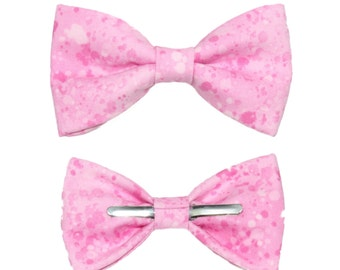 Pink Splatter Clip On Cotton Bow Tie - Choose Men's or Boys Sizes - Wear To Weddings / Formal Events / Prom / Easter
