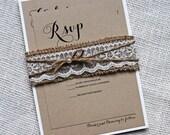 Rustic wedding invitation, Burlap Lace Wedding Invitation, Belly Band, Lace Wedding invitation, Country Wedding, Handmade Wedding Stationary