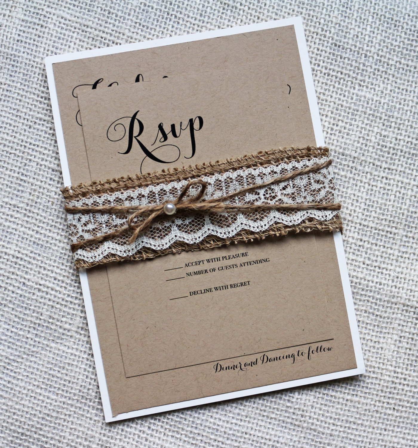 Burlap Wedding Invitation Lace Wedding Invitation Rustic