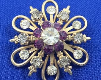Golden Brooch with Purple & Clear Rhinestones