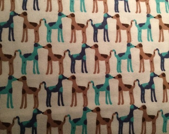 FLANNEL - Blue Great Danes Fabric - Brown Great Danes Fabric - Great Dane Baby Blanket - Dog Fabric - Dog Flannel - Great Dane Flannel