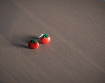 Juicy Tomato Studs - Polymer Clay Earrings