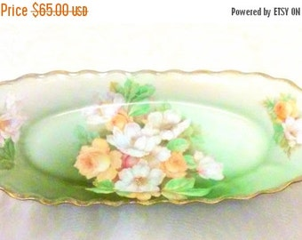 ON SALE Christmas Rose Victorian Bavarian Hand Painted Porcelain Dish