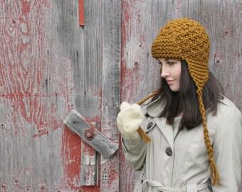 Cinnamon Brown Knit Earflap Aviator Hat . Ladies Trapper Lumberjack Hat . FREE SHIPPING