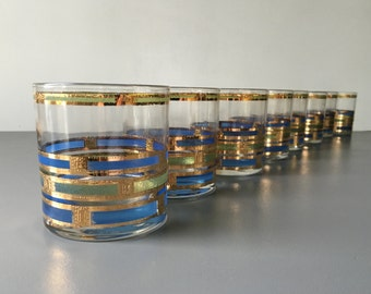 vintage Culver Empress highball glass 22k gold green and blue glassware set of 8
