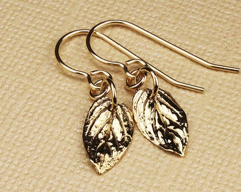 Gold earrings, gold leaf earrings, leaf jewelry, gold leaf, drop earrings, botanical, dangle earrings, petite earrings, minimalist earrings