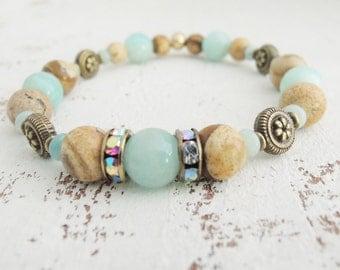 Aqua Blue Gemstone Bracelet Amazonite Bracelet Picture Jasper Bracelet Blue Tan Stone Bracelet Boho Bracelet Sea and Sand Collection for Her