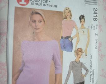 McCalls 2418  Misses Tops Sewing Pattern - UNCUT - Size Med - Lrg