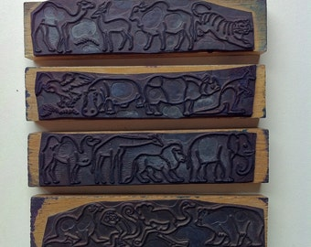 French vintage rubber stamps,, craft,animal, africa, zoo, tiger, girafe