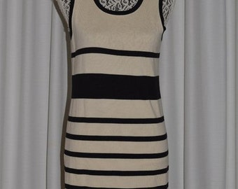Vintage ESCADA by  MARGARETHA LEY  Dress Sleeveless Knit Stretch Pencil Wool White and Black Stripes Early 1990s