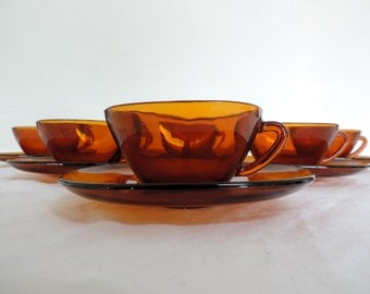 Vereco coffee set of cups and saucers, 6 piece, square dark amber glass