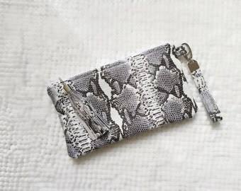 Python Leather Mini Wristlet
