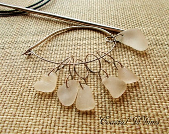 Knitting Accessories, Sea Glass Stitch Markers, Sea Glass Stitch Keeper, Seaglass Stitch Holder, Snag Free Stitch markers, Gift for Knitter
