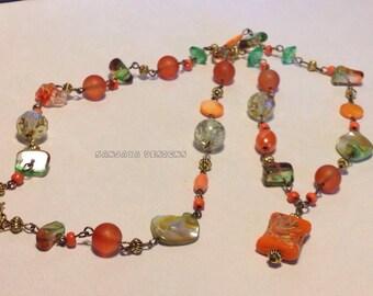 Autumn themed beaded necklace