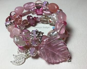 Pink Glass beaded multi tiered bracelet.