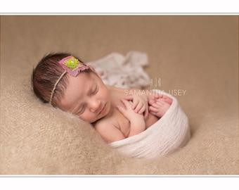 Baby flower headband, moss flower headband, tie back headband