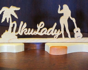 UkuLady Wood Tabletop Sign Maple with Varigated Ocean Cut Base