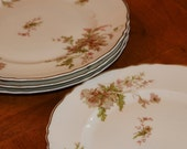 """Haviland Limoges China """"Poppy"""" Pattern Set of Three Pink Floral Salad Plates, Gold Trim Plate, Scalloped Edge Plate, French Limoges"""