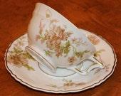 "Haviland Limoges France ""Poppy"" Pattern China Teacup and Saucer"