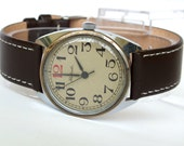 Classic men's dress watch Raketa red twelve. Vintage men's wrist watch. Mechanical gents watch. Grey dial mens watch. Leather watch strap.