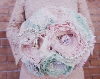 Fabric brooch bouquet, blush and mint bride bouquet, wedding fabric bouquet