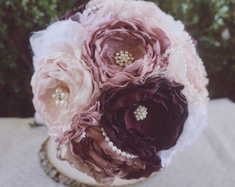 Fabric bouquet, Blush, rose and burgundy fabric bouquet, brooch bouquet, vintage fabric flower bouquet