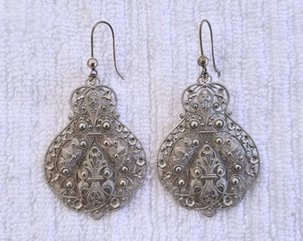 Large Filigree Pierced Earrings