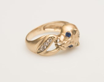 LIONESS Ring Natural Emerald Ring White Sapphire Ring Limited Edition Ring Designer Ring Statement Ring