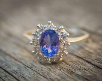 Natural Tanzanite Engagement Ring Gold Tanzanite Ring Halo Engagement Ring White Sapphire Accents