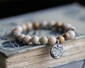 Fossil Coral Bracelet, Beaded Bracelet,  Stacking Bracelet, Stretch Bracelet, Gemstone Bracelet, Sterling Silver Charm, Botanical Charm, 8mm