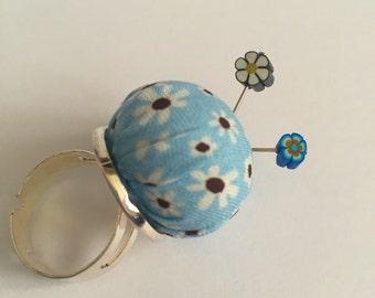 Teeny tiny handmade vintage fabric Pincushion ring