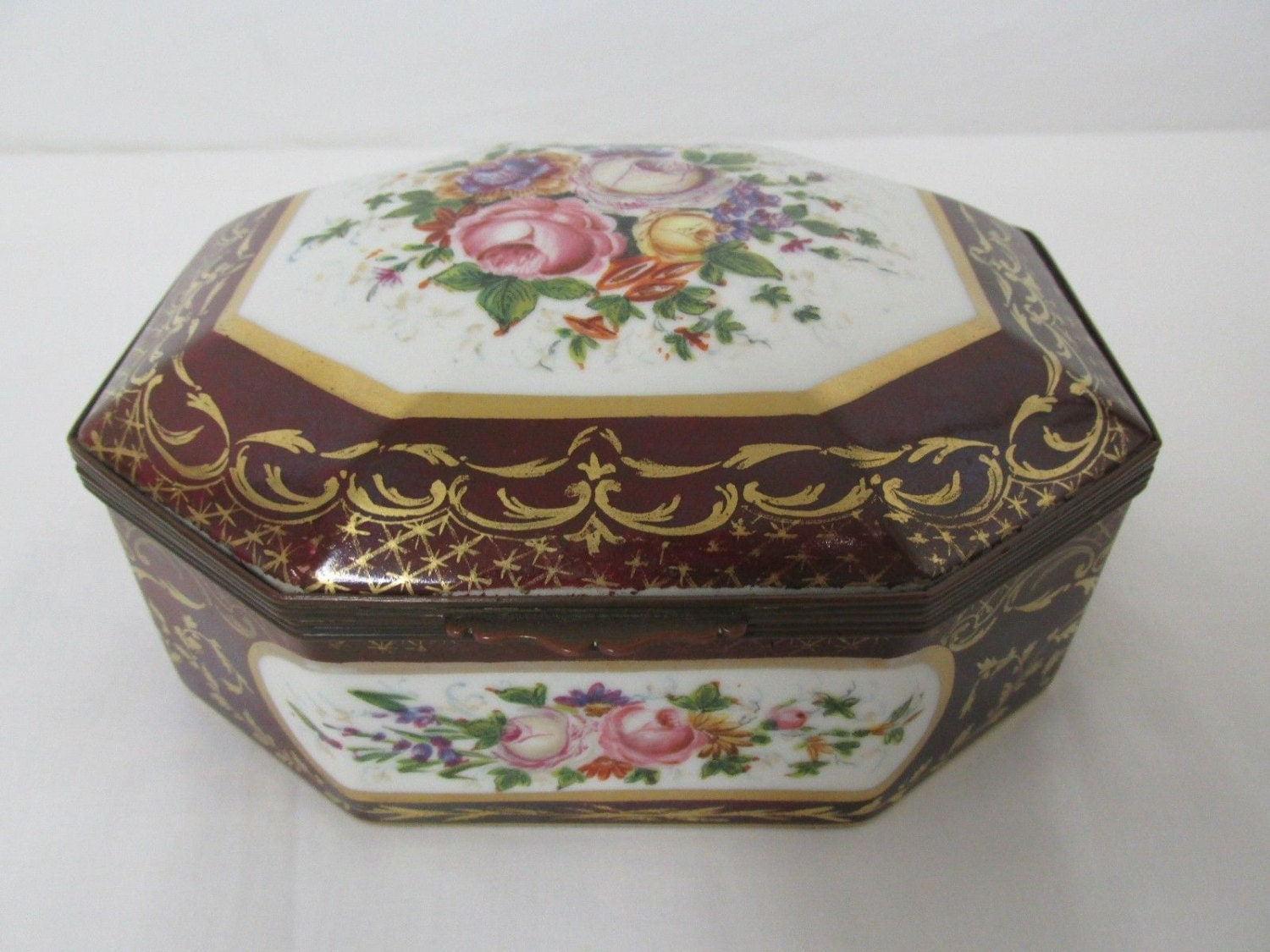 Vintage Limoges Jewelry Box Rose Floral France Maroon Gold |Limoges Jewelry