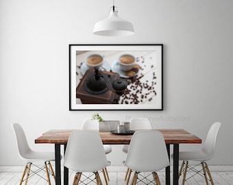 Kitchen art, Paris photography, cafe paris art coffee, rustic kitchen wall decor, food photography, wall art, kitchen print, kitchen decor