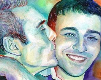 LOSS of FATHER special GIFT for son, Father and son watercolor custom portrait, Remembrance gift, father memorial, father of the groom gift