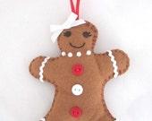 Mrs Gingerbread Lady, Felt Christmas Ornament Decoration