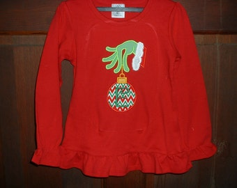 Red Ruffle Appliqued Shirt-4T-Grinch Like Hand/Christmas Ornament