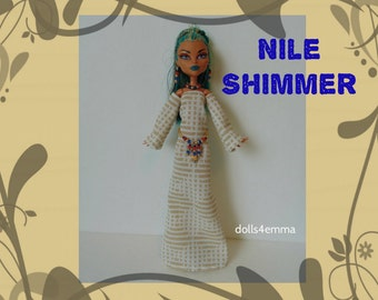 SALE - NEFERA Monster High Doll Clothes - Handmade Egyptian Gown + Belt + Jewelry - Custom Fashion by dolls4emma