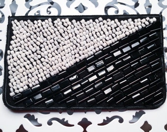 Black and White Birth Control Case - Birth Control - Pill Case - Black and White Phone Case - Beaded Case - Black and White Case