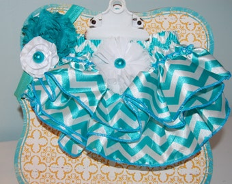 Turquoise Satin Infant Bloomer with Matching Headband