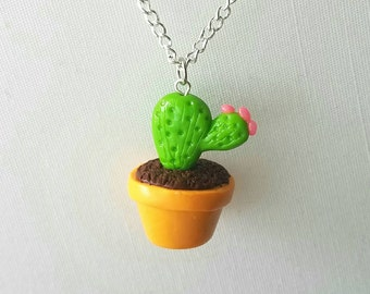 Cute Potted Cactus Necklace