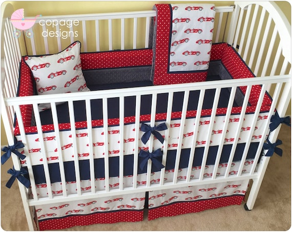 Organic Red Vintage RACE CARS Baby Crib Bedding by ...