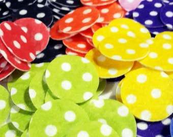 Printed  Felt Die Cut Circle & Polka-dot - 100 pcs -1 inch