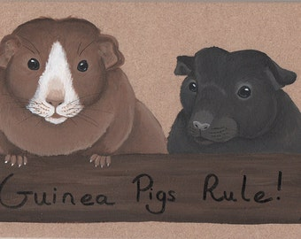 Guinea Pigs Rule!  Wooden Sign