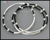 Boho Leather BANGLE - Double Single Tubes Genuine Leather Cord - ADD a Tassel Charm Beachy Bangle Stackable Bracelet - Renee and Alex USA