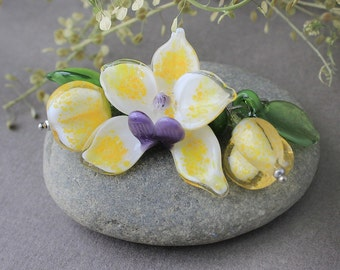 Lampwork Glass Beads Orchid, Set of 7 Glass Beads, Lampwork Beads, Lampwork Flower Beads, Glass Beads, Lampwork Flower, Lampwork Glass Beads