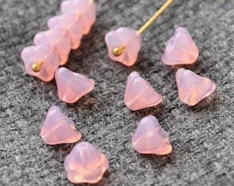 Czech Glass Flower Beads, 20Pc Milk Pink Flower Beads, Czech Glass, Bell Flower Beads, Pressed Beads, Czech Glass Beads, Czech Beads 6x8mm