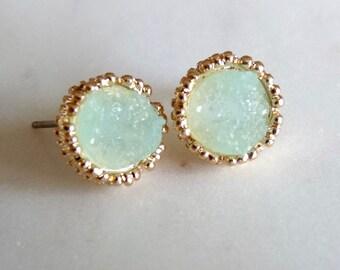 Mint Seafoam Aqua Blue Green Druzy Drusy Glitter Sparkle Gold Bezel Stud Post Earrings.  Bridesmaids Jewelry For Her