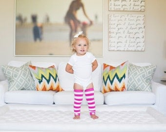 Hot Pink Stripes Baby Leg Warmers
